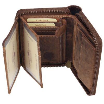 Greenburry zipzáras antik hatású női bőr pénztárca 12.5x10cm