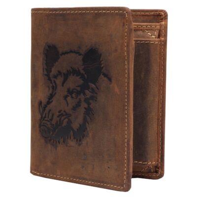Greenburry vaddisznó mintás álló férfi bőr pénztárca 12x9.5cm