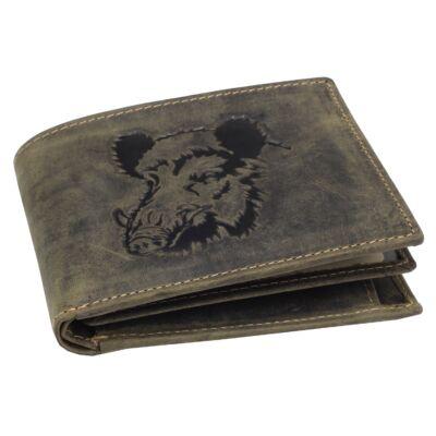 Greenburry vaddisznó mintás, zöld, fekvő bőr pénztárca 12x9.5cm