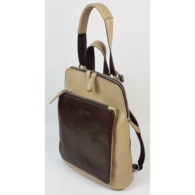 Rialto olasz design kicsi krém-barna női bőr hátizsák 27 x 22 cm.