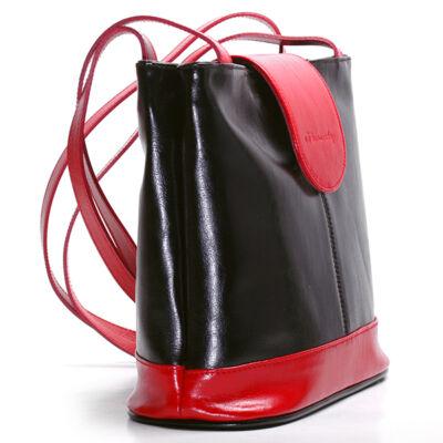 Marina fekete-piros női bőr válltáska 27x25cm