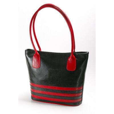 Evana fekete-piros női bőr válltáska 30x27cm