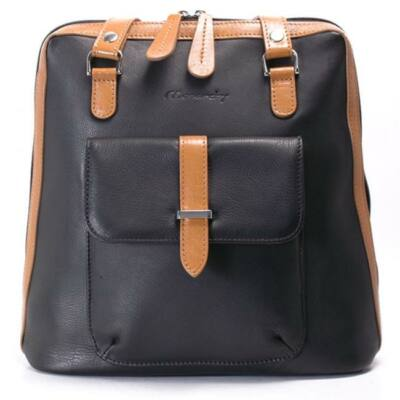 Karen női fekete-barna bőr hátizsák