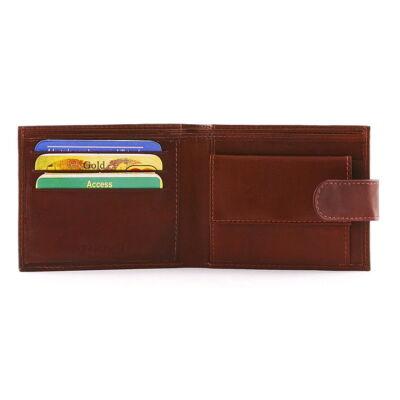 Férfi bőr pénztárca patentos aprópénz tartóval 12x9.5 cm