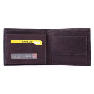 Férfi marhabőr pénztárca 5 db-os irattartóval 12x10cm