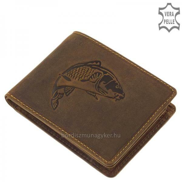 GreenDeed horgász bőr pénztárca ponty mintával