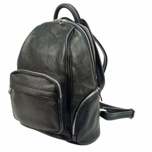 Maxmoda Mona fekete női bőr hátizsák 33x28 cm