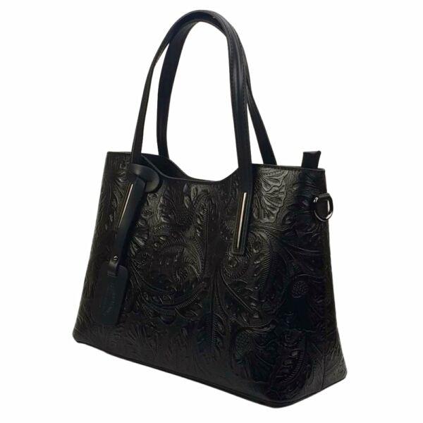 Maxmoda: Isabell fekete nyomott mintás olasz női bőr kézitáska vállpánttal 38 x 27 cm.