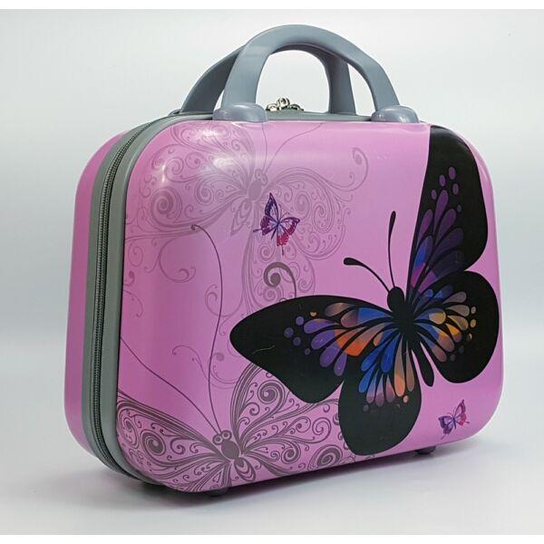 Ormi Butterly rózsaszín kemény falú kozmetikai táska