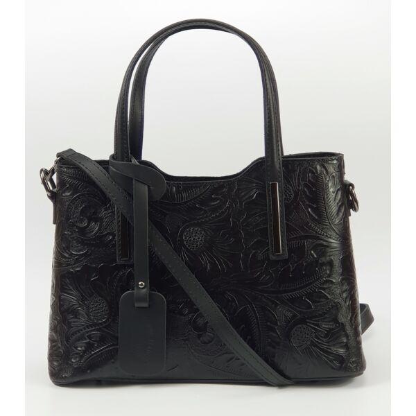 Izabell fekete nyomott mintás olasz női bőr kézitáska vállpánttal 32 x 22 cm.