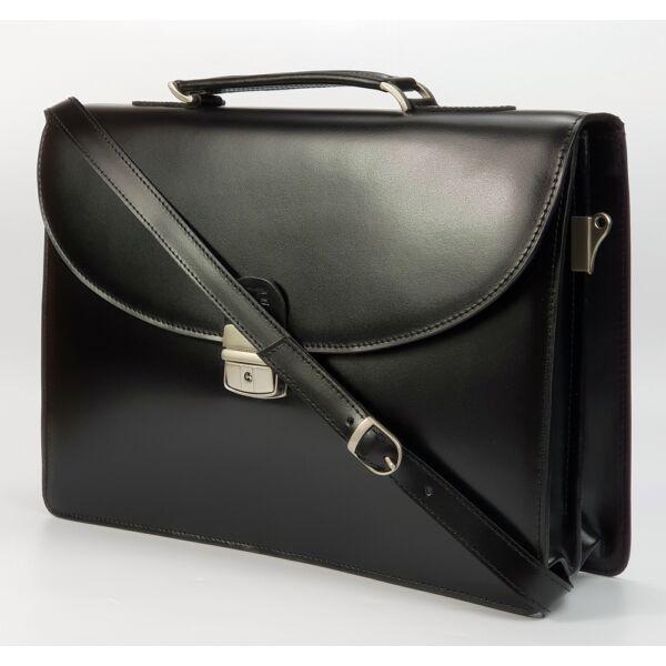 Blazek&Anni fekete selyemfényű bőr aktatáska 38x26 cm