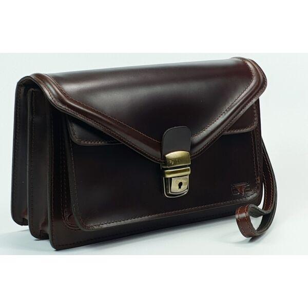 Blazek&Anni selyemfényű dísz-varrott férfi bőr autós táska