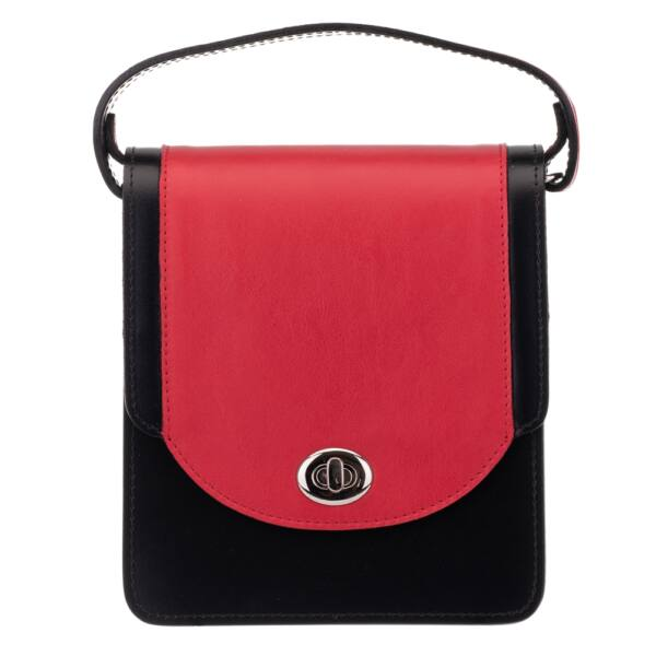 Blázek és Anni női, fekete-piros, selyemfényű bőr mini oldaltáska, válltáska 18x15,5 cm
