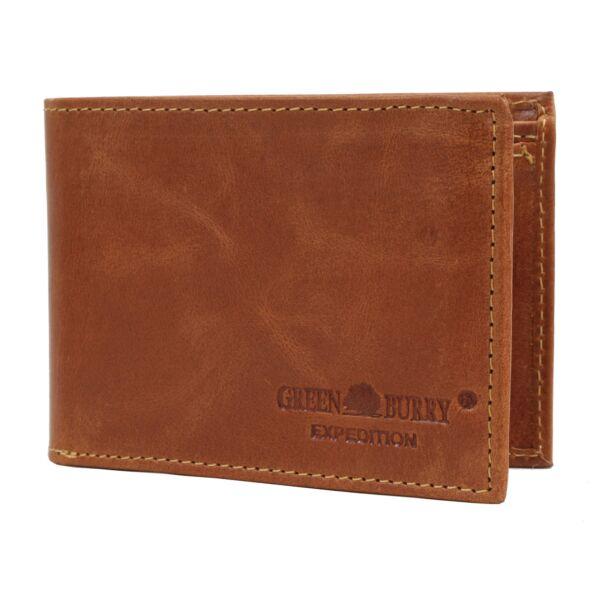 Greenburry férfi bőr pénztárca, konyak 11.5x8.5cm