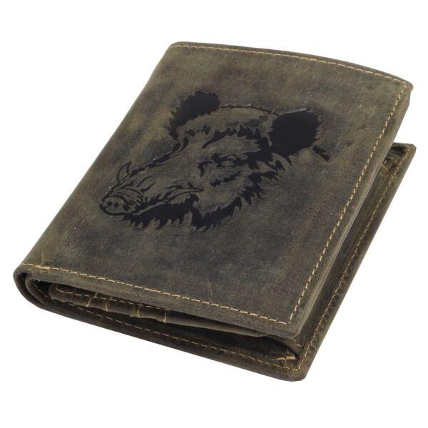 Greenburry vaddisznó mintás, álló, férfi vadász zöld, bőr pénztárca 12x9.5cm