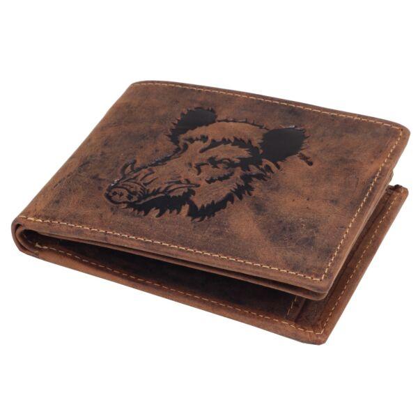 Greenburry vaddisznó mintás, fekvő bőr pénztárca 12x9.5cm