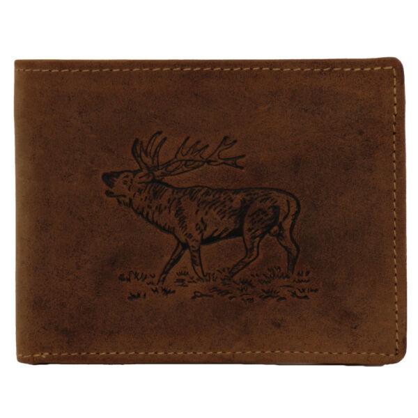 Greenburry szarvas mintás, vadász fekvő bőr pénztárca 12x9.5cm