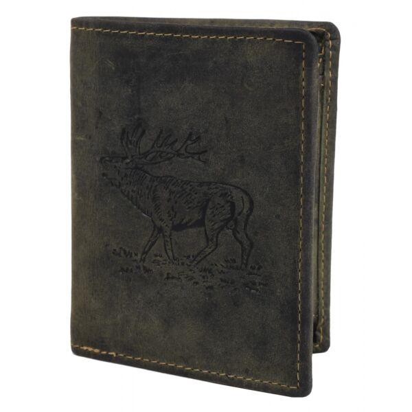 Greenburry szarvas mintás, zöld, vadász bőr pénztárca 12x9.5cm
