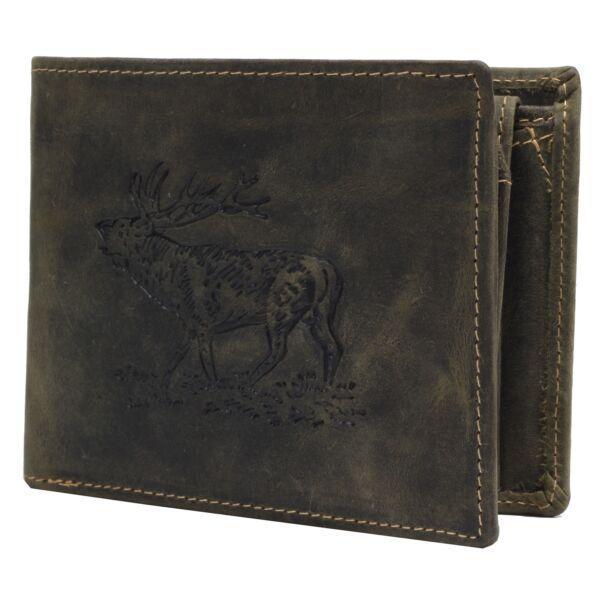 Greenburry szarvas mintás, zöld, fekvő bőr pénztárca 12x9.5cm