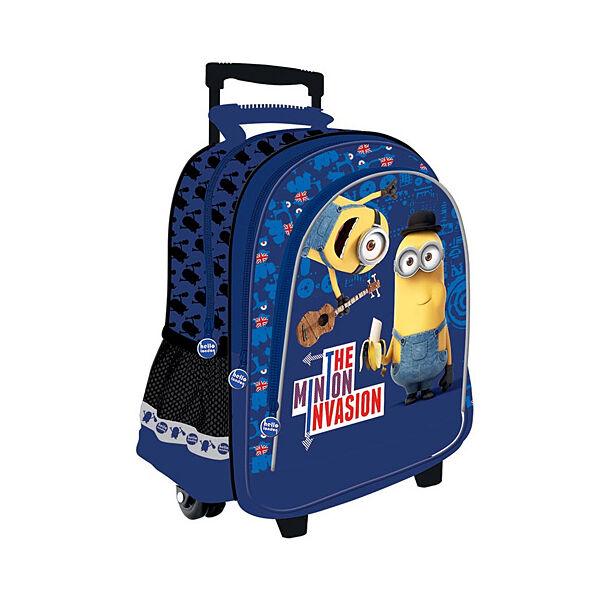 Minyonos három rekeszes gurulós hátizsák, iskolatáska