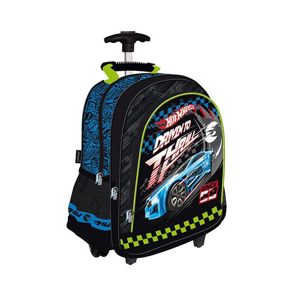 Hot Wheels három rekeszes gurulós hátizsák, iskolatáska