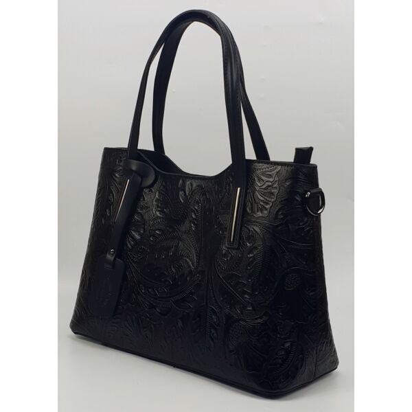 Isabell fekete nyomott mintás olasz női bőr kézitáska vállpánttal 37 x 28 cm.