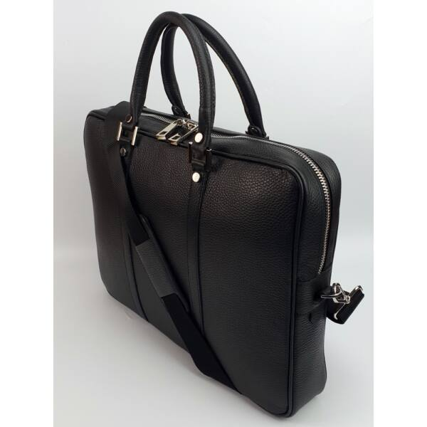 Maxmoda uniszex fekete bőr laptoptáska, aktatáska