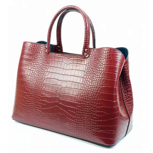 Maxmoda Hanna olasz női piros bőr kézitáska vállpánttal 37x25 cm