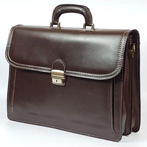 Maxmoda vágott zsebes, olasz dupla, sötétbarna férfi bőr aktatáska 40 x 29 cm.