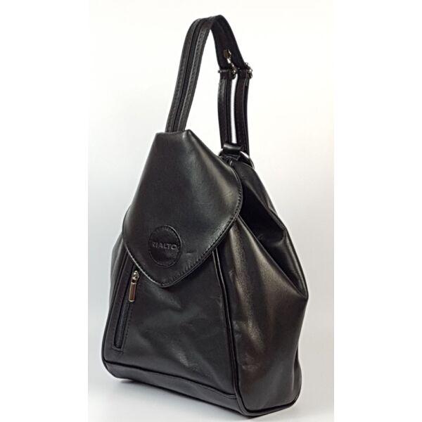 Rialto olasz háromszög alakú női fekete bőr hátizsák 25 x 30 cm.