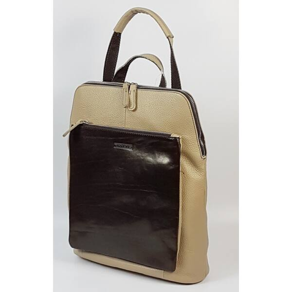 Rialto olasz design A/4 női krém-barna bőr hátizsák 36 x 29 cm.