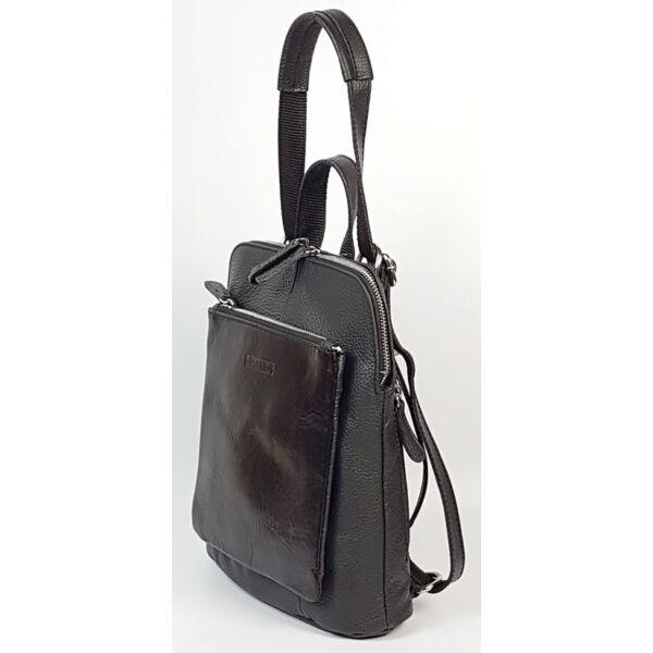 Rialto olasz design kicsi női fekete bőr hátizsák 27 x 22 cm.