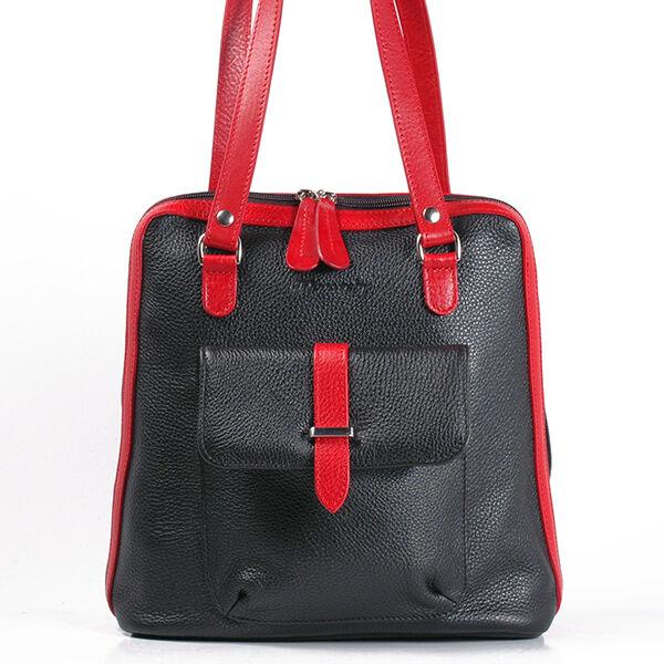 Karen női fekete-piros bőr hátizsák