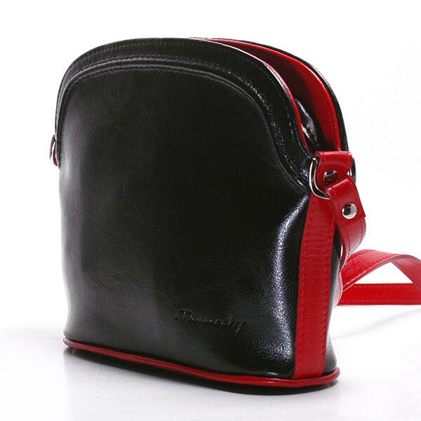 Virginia fekete-piros női bőr válltáska 25x20cm