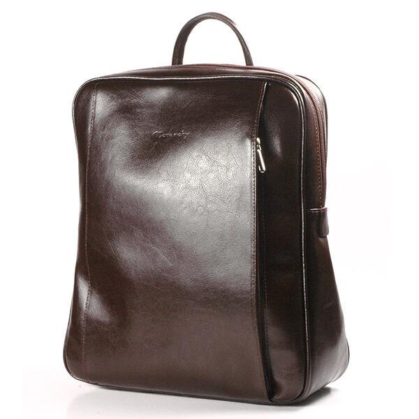 Rubina csokoládébarna női bőr hátizsák 29x35cm