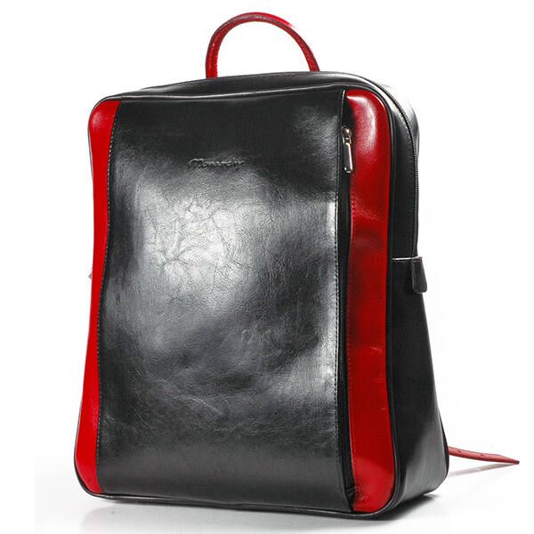 Rubina női fekete-piros bőr hátizsák 29x35cm