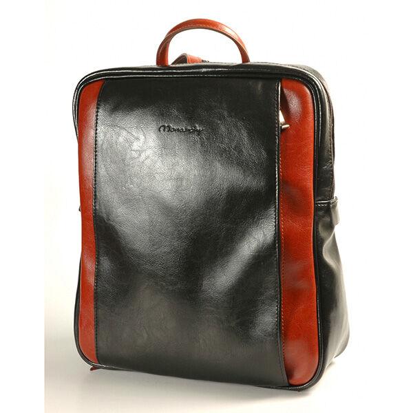 Rubina fekete-konyak női bőr hátizsák 29x35cm