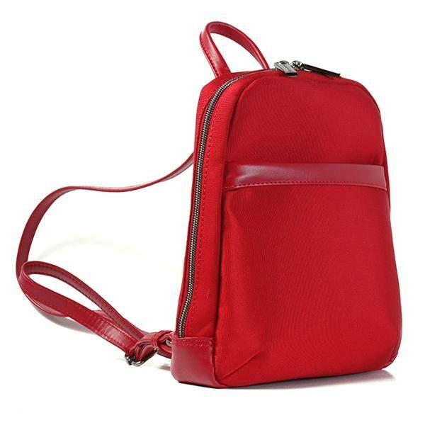 Jessica női piros bőr-vászon hátizsák 25x28x12 cm