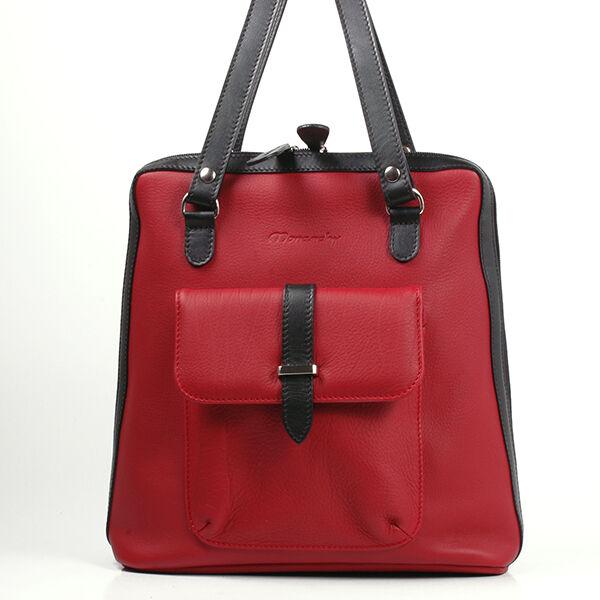 Karen női piros-fekete bőr hátizsák
