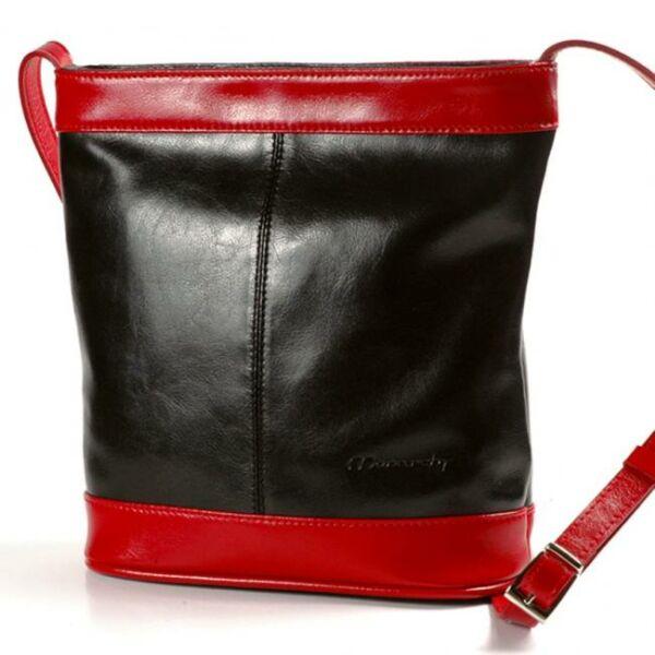 Lola fekete-piros női bőr válltáska 29,5 x 27 cm.