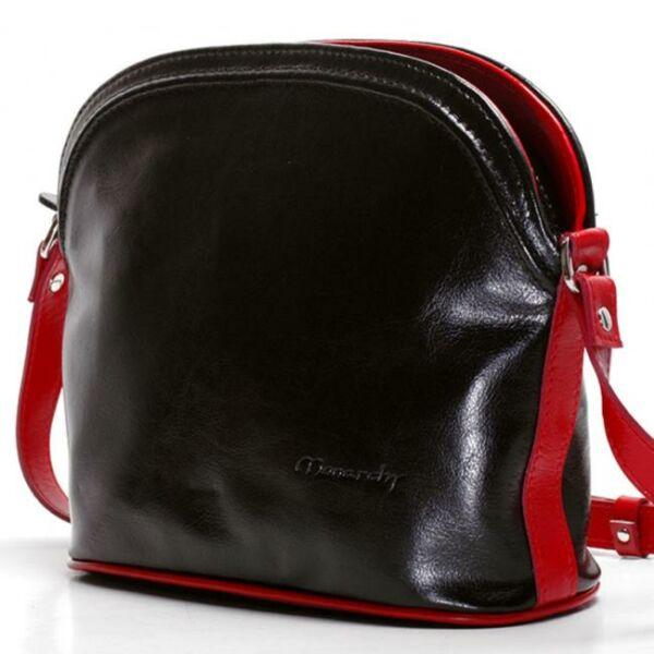 Vilma fekete-piros női bőr válltáska 30 x 22 cm.