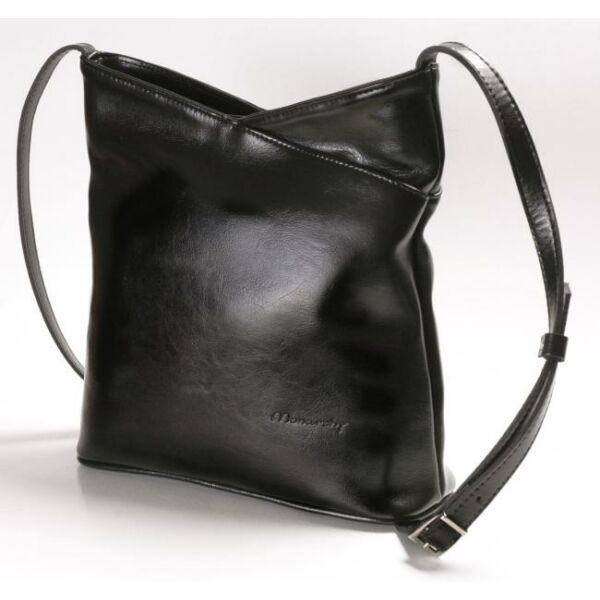 Kamilla fekete női bőr válltáska 29 x 28,5 cm.