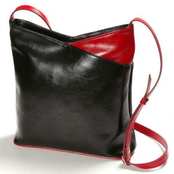 Kamilla fekete-piros női bőr válltáska 29 x 28,5 cm.