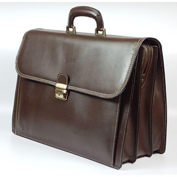 Rialto olasz tripla rekeszes nagy zsebes barna férfi bőr aktatáska 42.5 x 31 cm.
