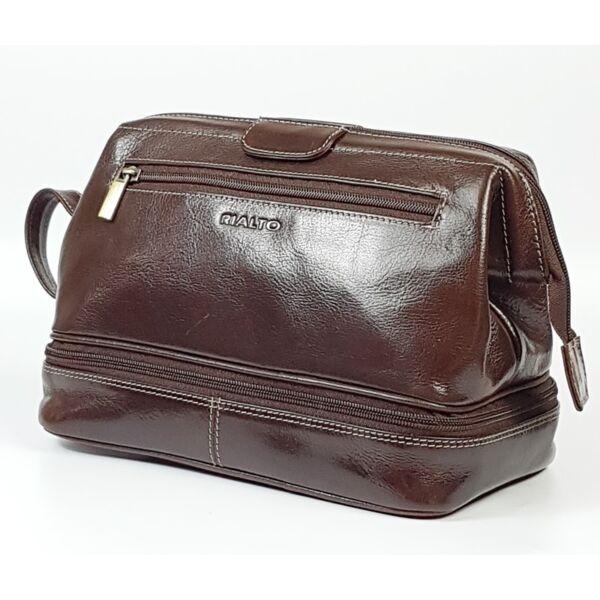 Rialto fenék rekeszes, olasz férfi bőr neszeszer, kozmetikai táska 27x17 cm