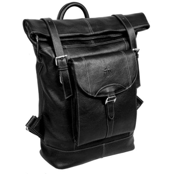 Rosme fekete bőr hátizsák