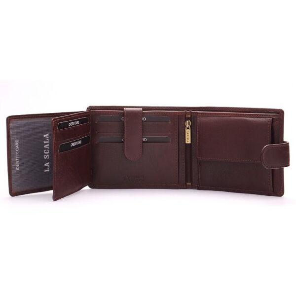 Férfi bőr pénztárca patentos, átfogópántos 12.5x9.5 cm
