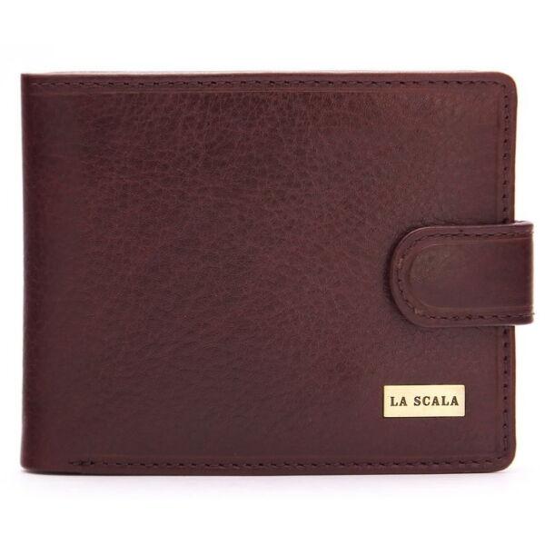 Férfi bőr pénztárca díszdobozban, barna, 11.5x9.5 cm