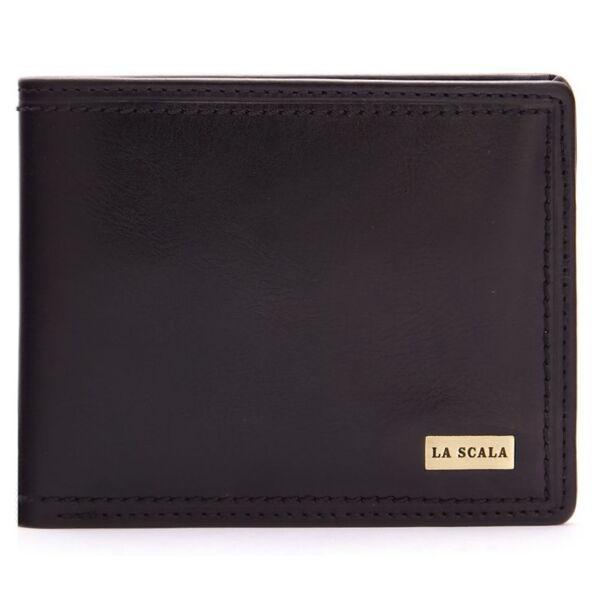 Férfi bőr pénztárca fém logós, kettő rekeszes papírpénz tartóval