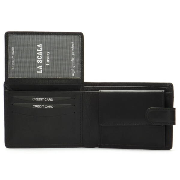 Férfi bőr pénztárca, kihajtható kártya- és irattartó rekeszekkel